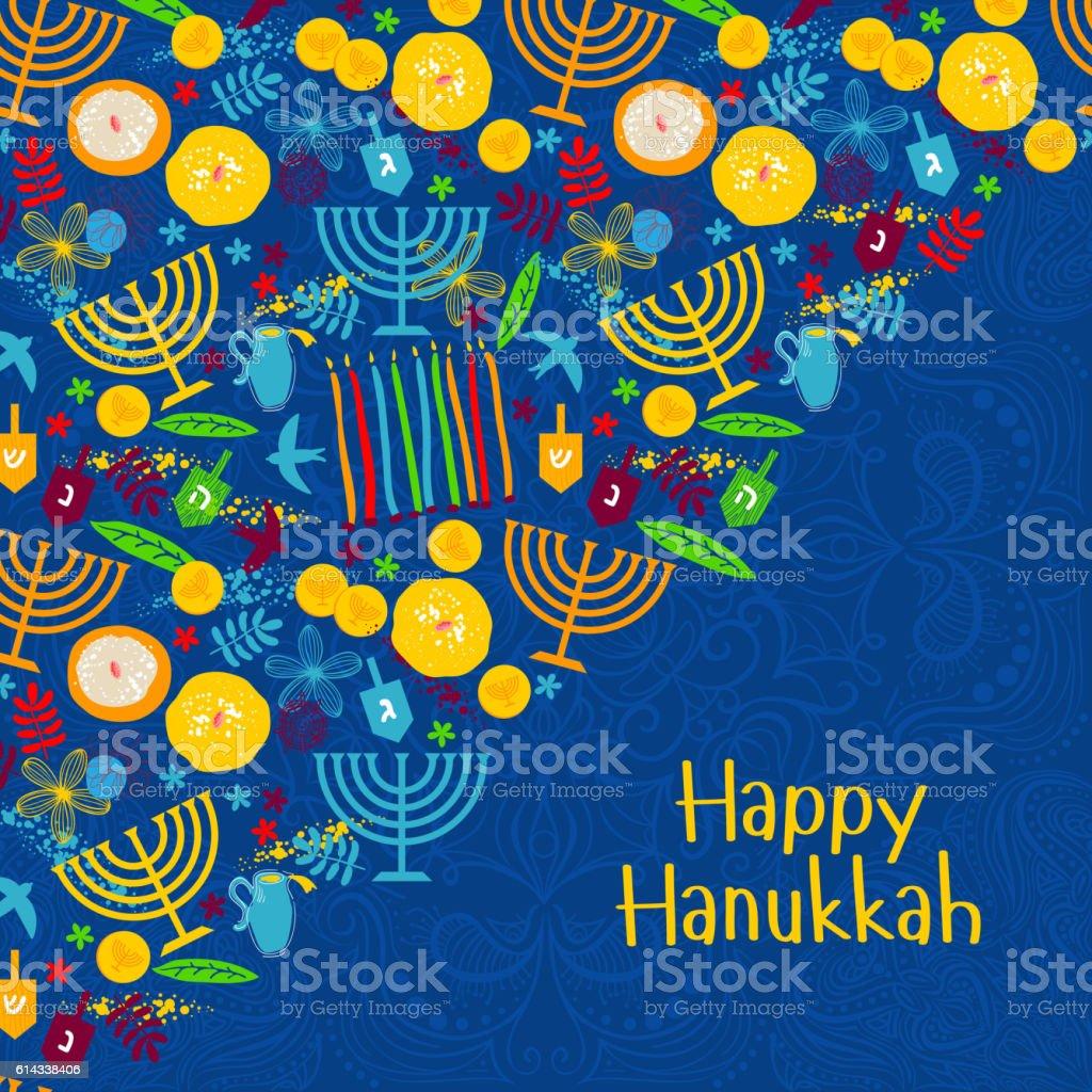 Happy Hanukkah, Jewish holiday background vector art illustration