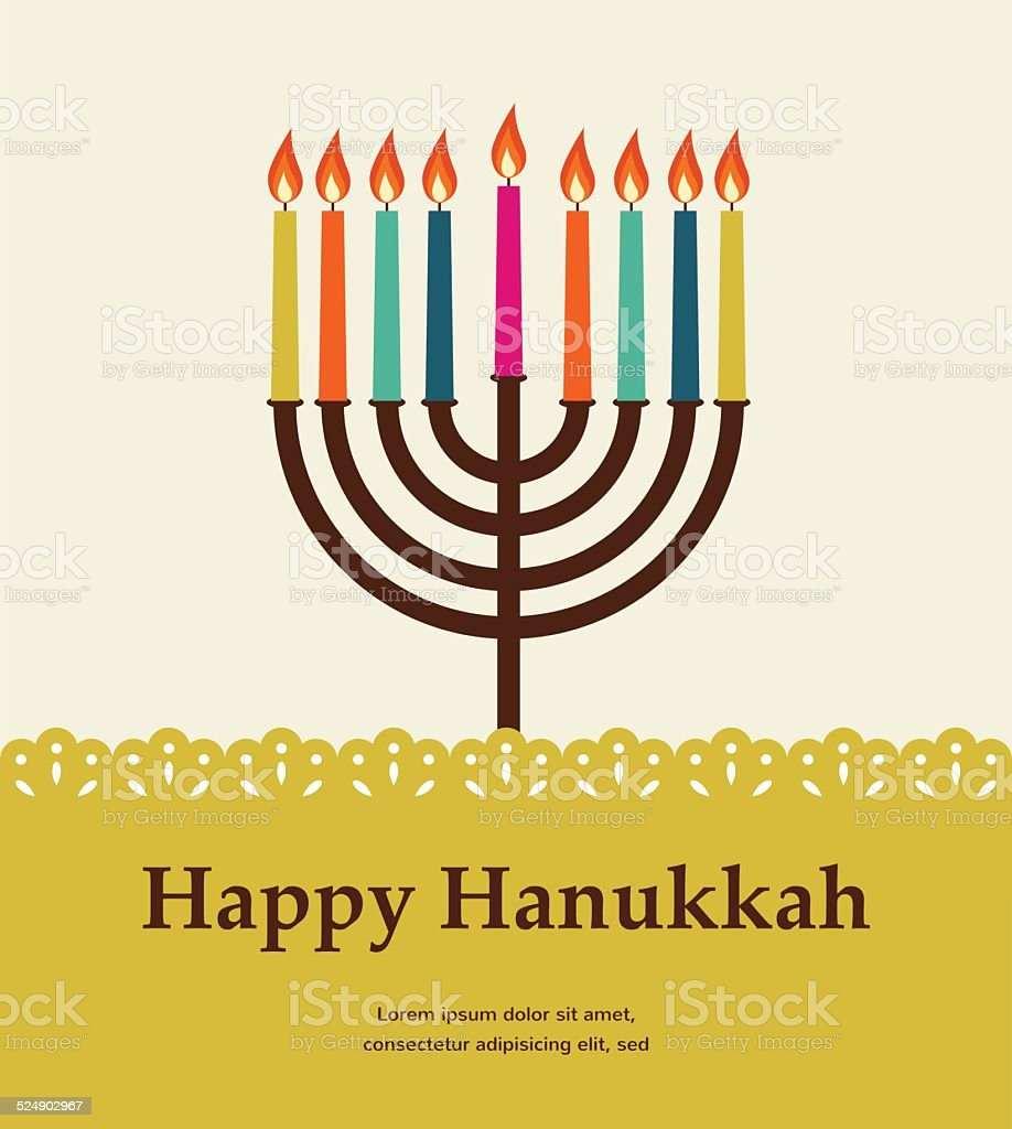happy hanukkah, jewish holiday. vector art illustration