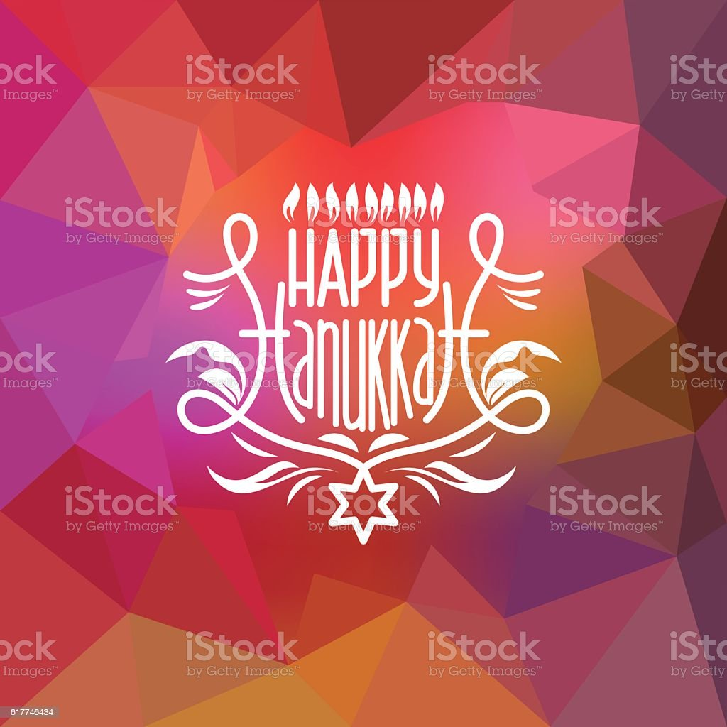 Happy Hanukkah lettering on low poly colorful background vector art illustration