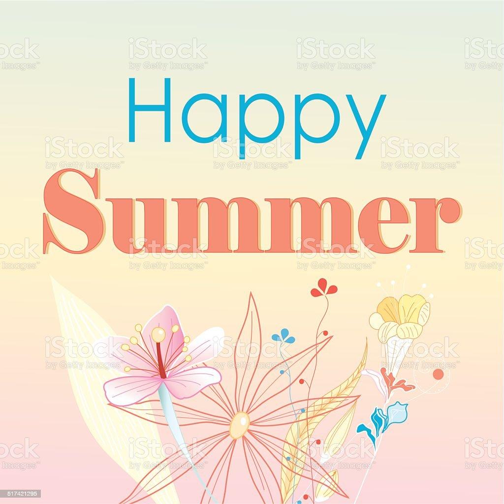 Happy happy summer card vector art illustration