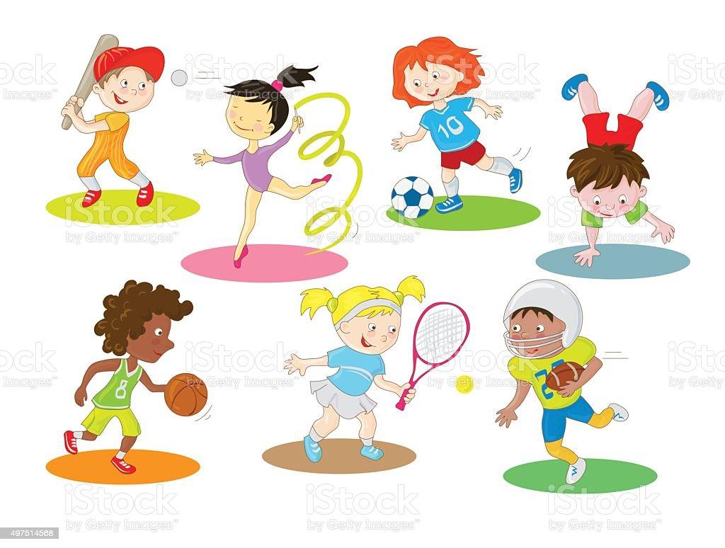 Feliz Saludable Y Activa Niños Haciendo Deportes Al Aire Libre Y ...