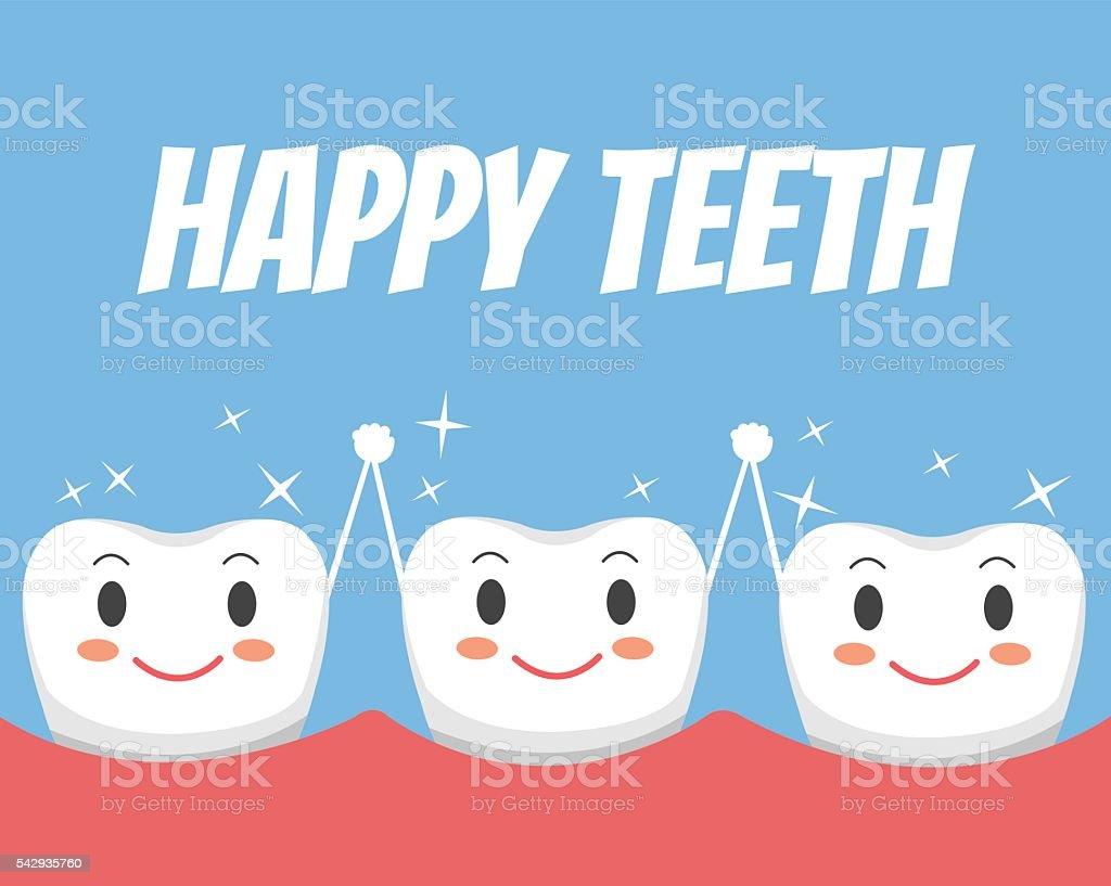 Happy healthy teeth friends. Vector flat cartoon illustration vector art illustration