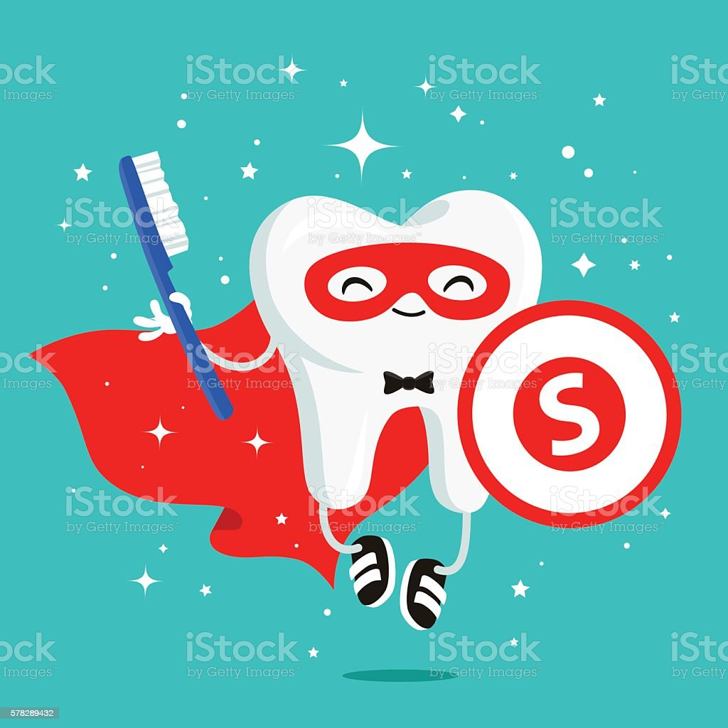 Happy healthy tooth in a red cloak vector art illustration