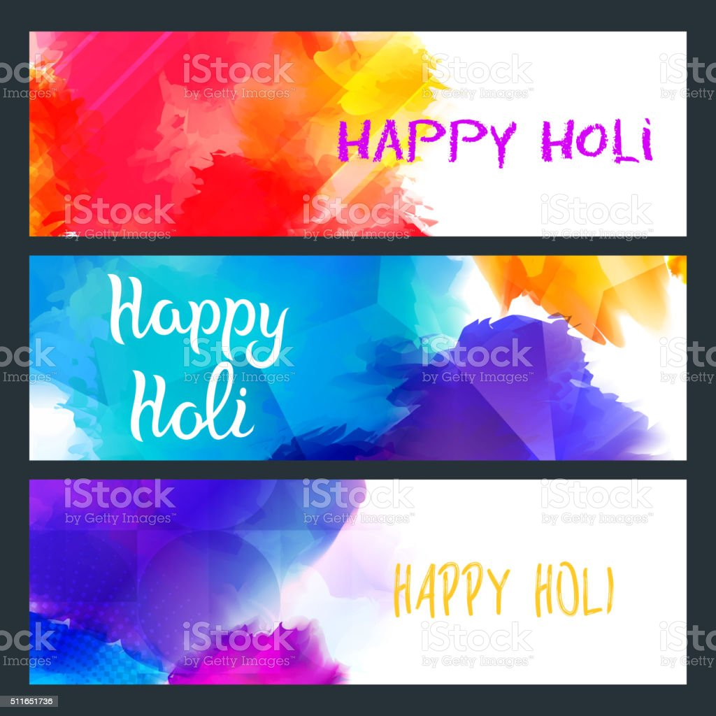 Happy Holi Bright Banners vector art illustration