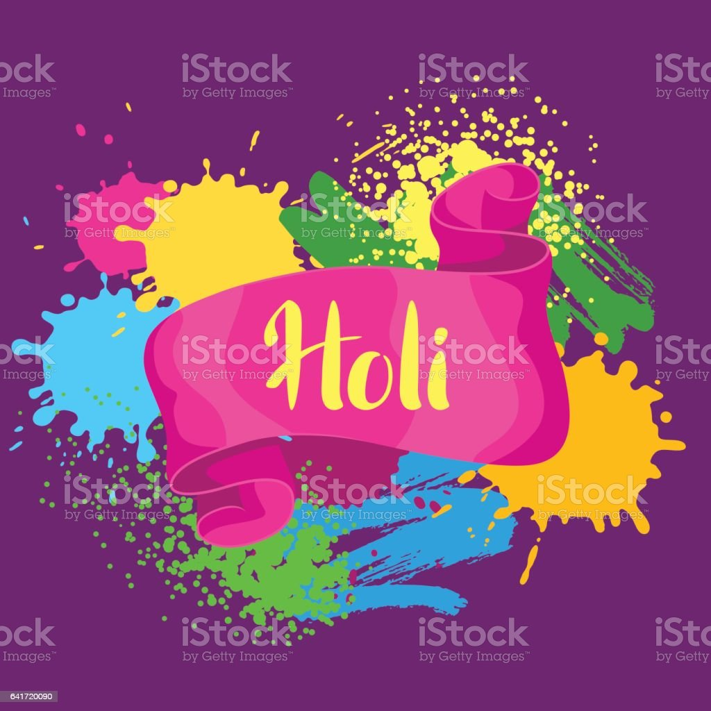 Happy Holi colorful background. Card with paint splashes, blotches, spots and drops vector art illustration