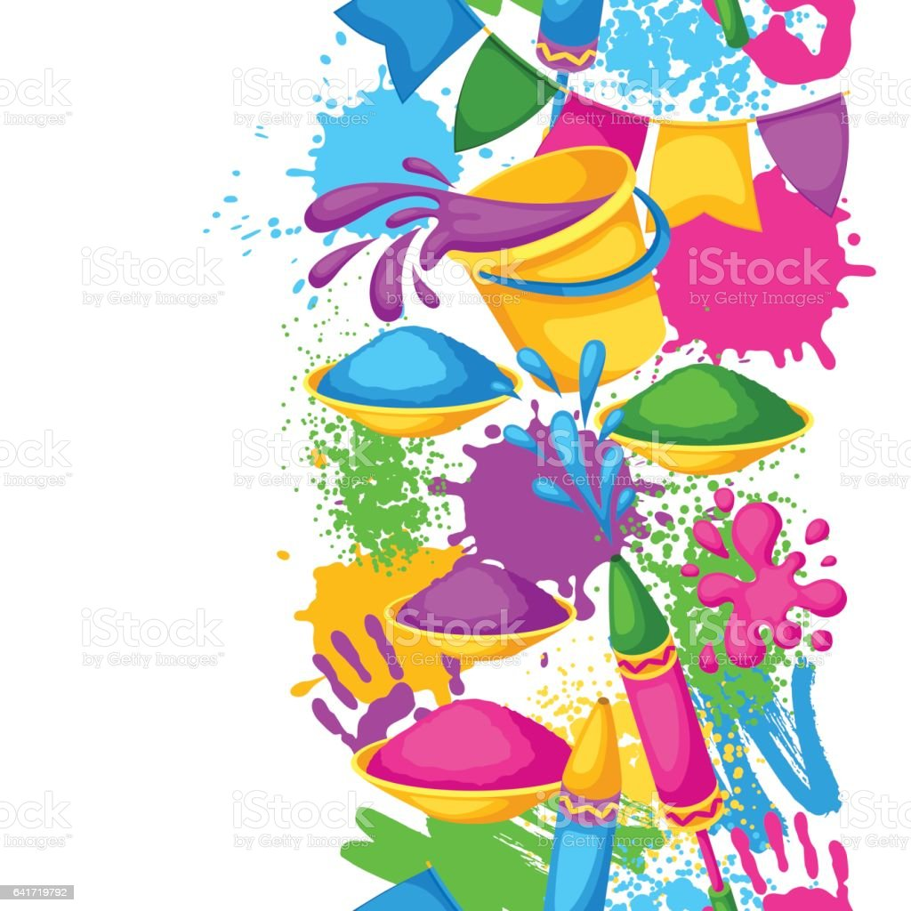 Happy Holi colorful seamless border. Illustration of buckets with paint, water guns, flags, blots and stains vector art illustration