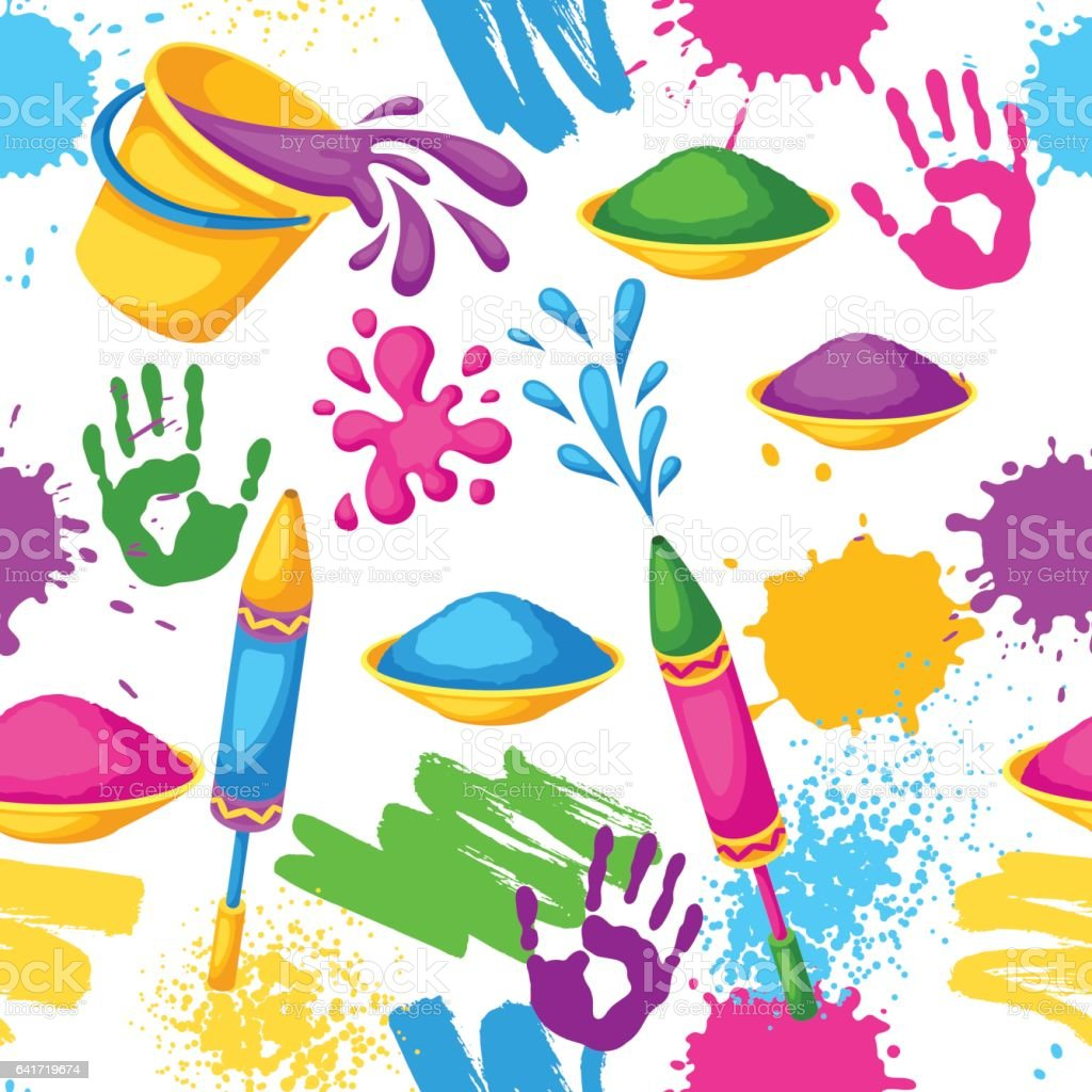 Happy Holi colorful seamless pattern. Illustration of buckets with paint, water guns, flags, blots and stains vector art illustration