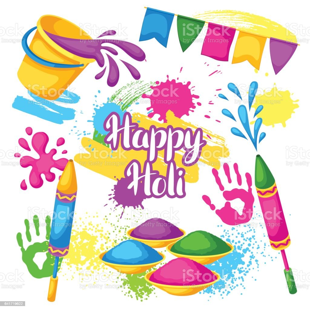 Happy Holi set of elements. Buckets with paint, water guns, flags, blots and stains vector art illustration