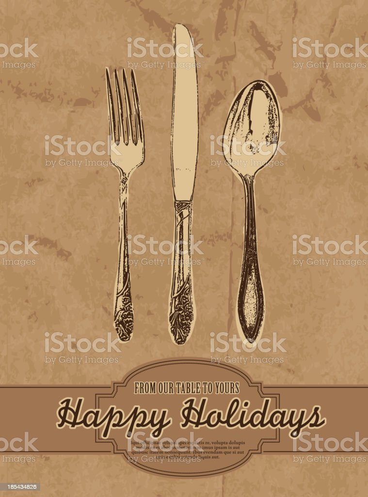 Happy Holiday restaurant greeting design template royalty-free stock vector art
