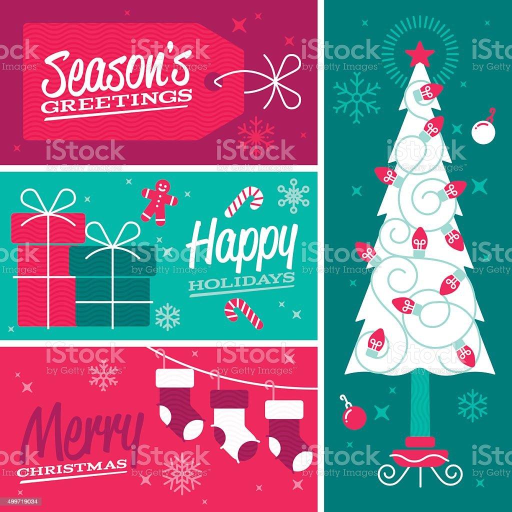 Happy Holidays and Merry Christmas Seasonal Design Banners vector art illustration