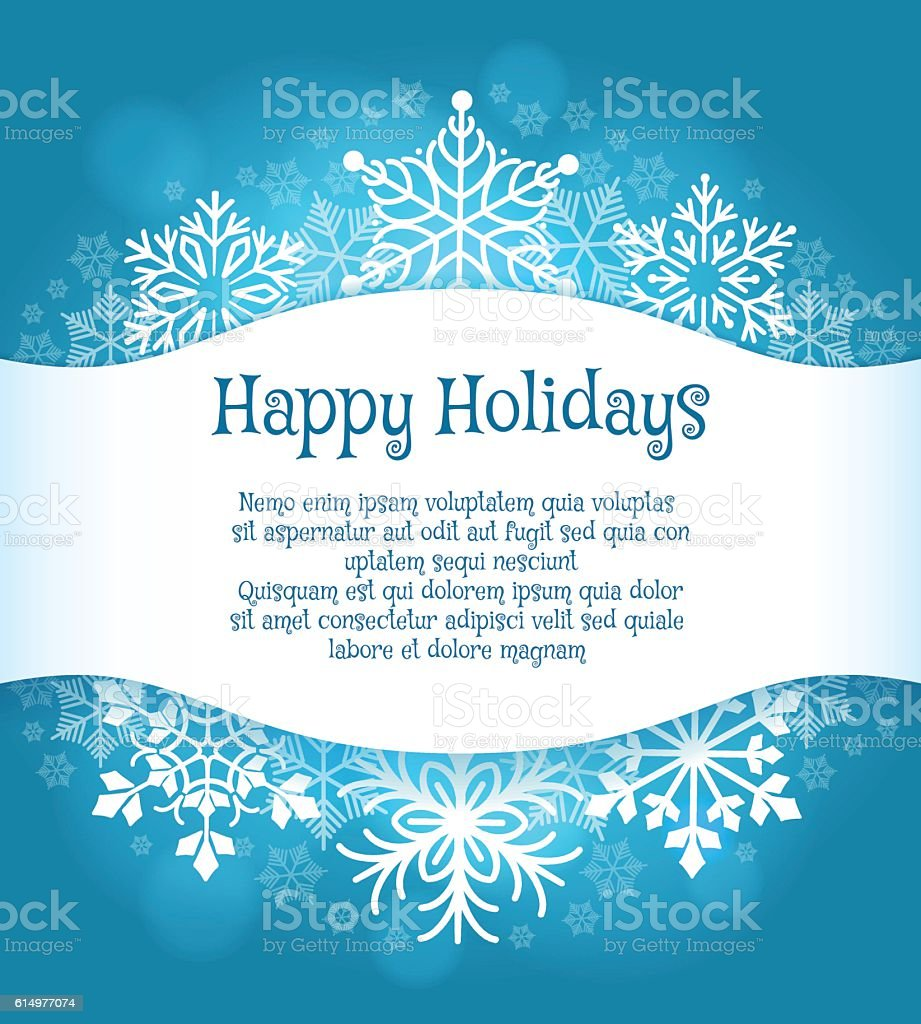 Happy holidays blue background with snowflakes vector art illustration