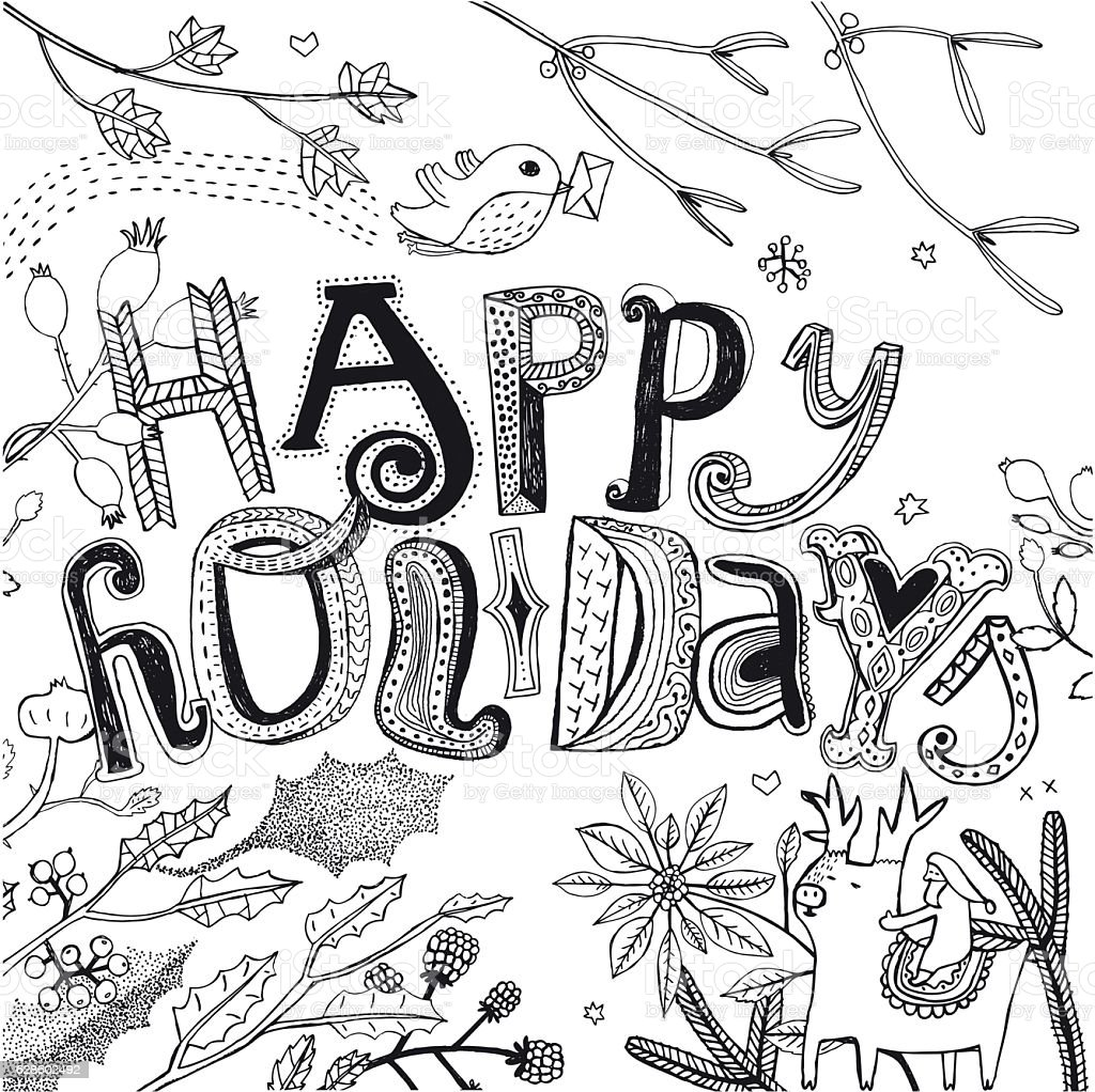 Happy Holidays design with holly, robin, santa and reindeer vector art illustration