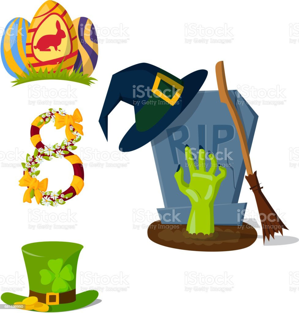 Happy holidays different icons vector holidays symbols decoration traditional celebration gift badge vector art illustration