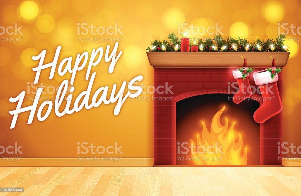 Happy Holidays Fireplace vector art illustration