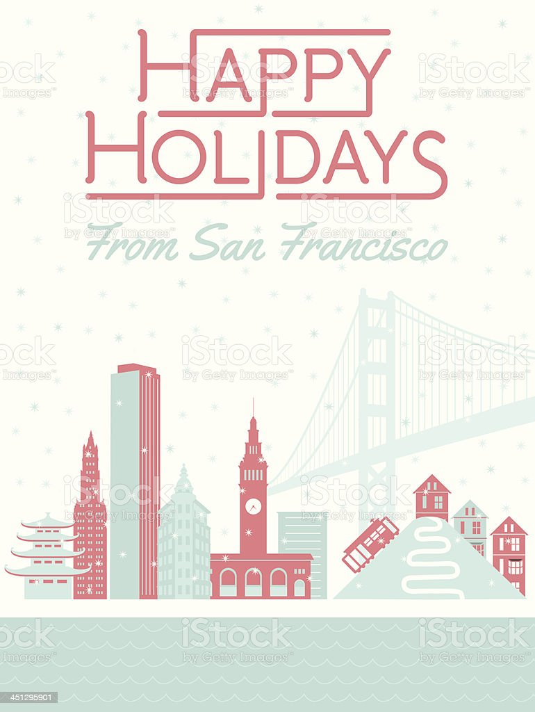 Happy Holidays from San Francisco vector art illustration