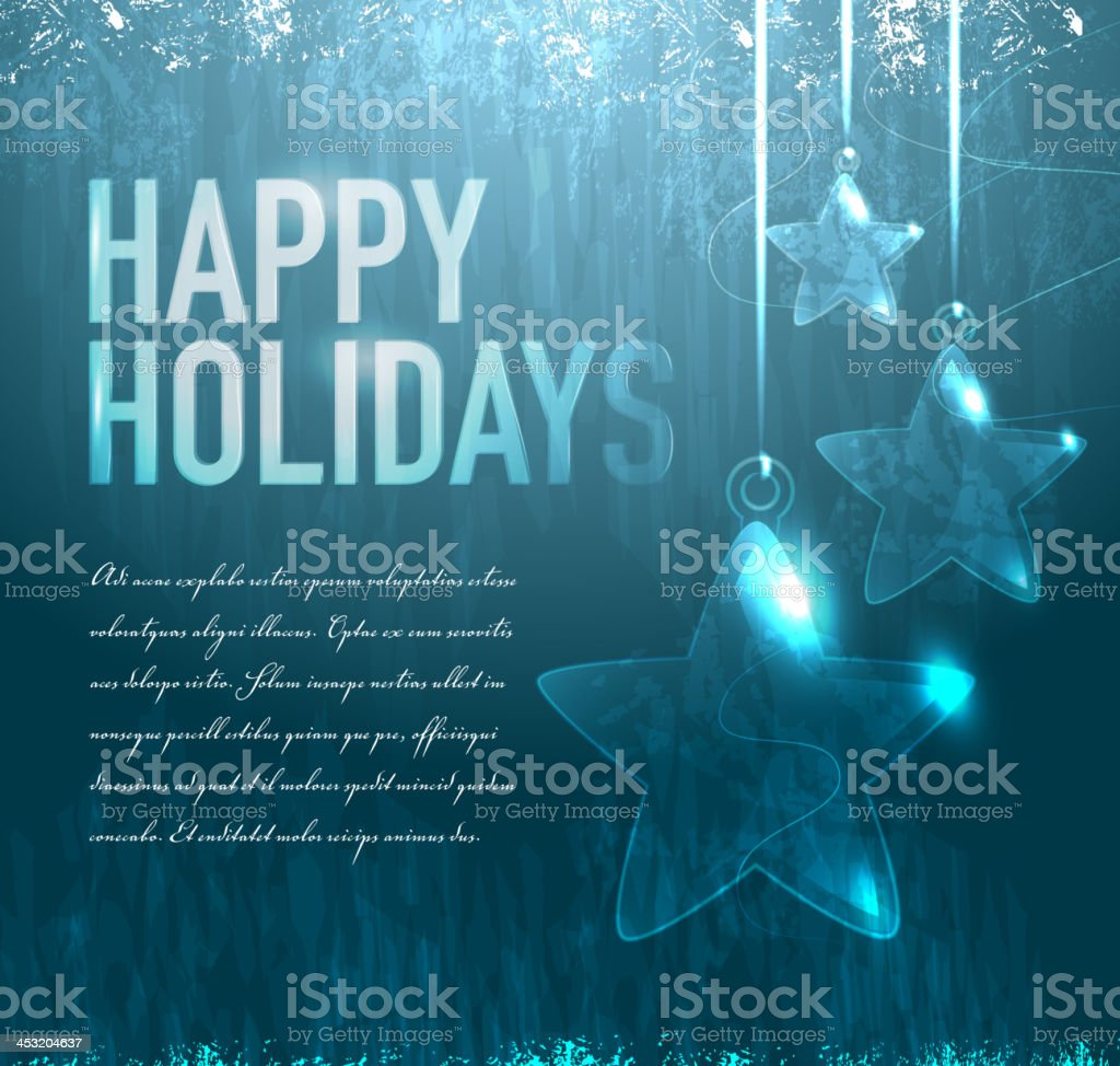 Happy Holidays Glass stars Greeting design template royalty-free stock vector art
