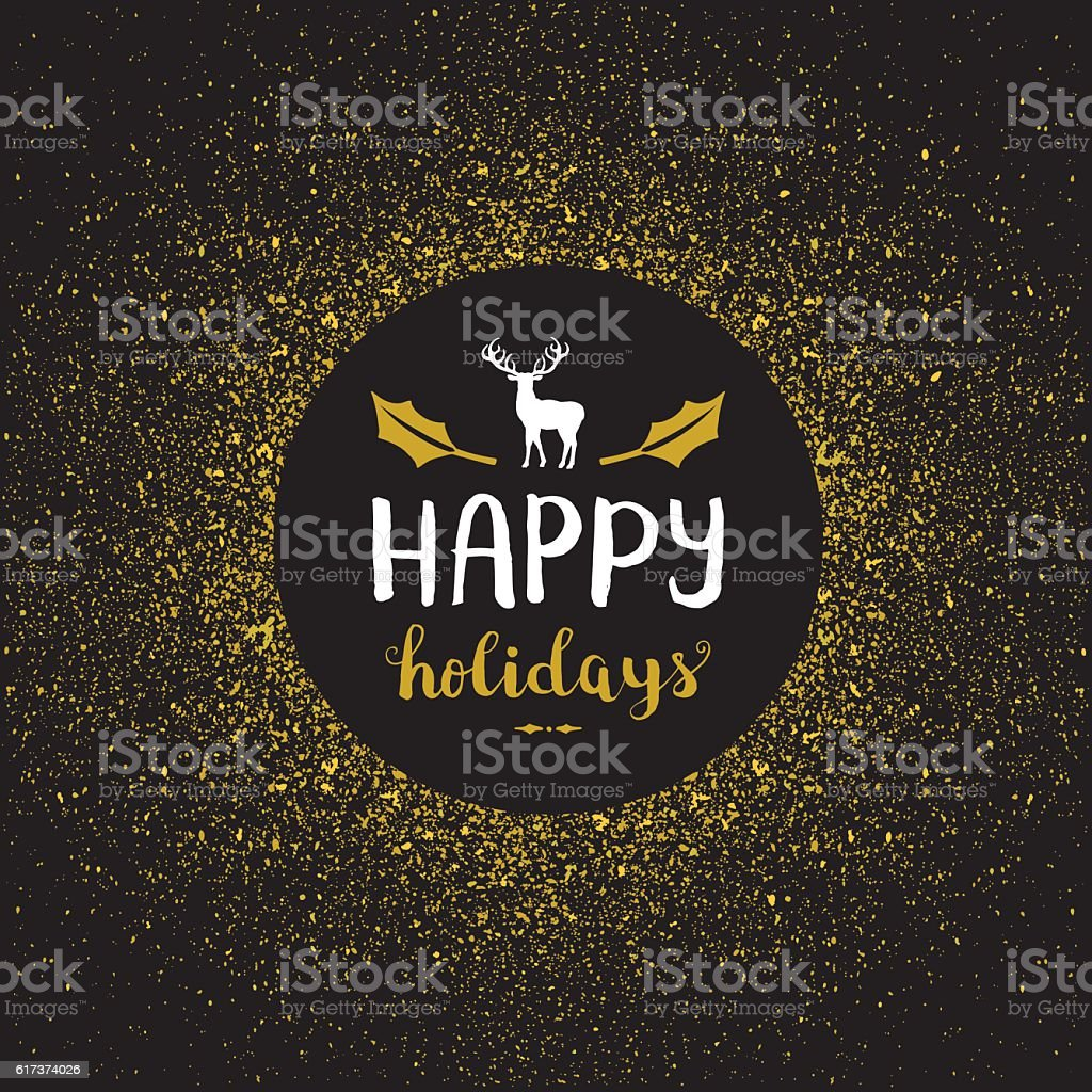 Happy holidays golden glitter vector art illustration