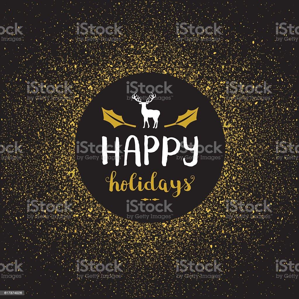 Happy holidays golden glitter vector art illustration