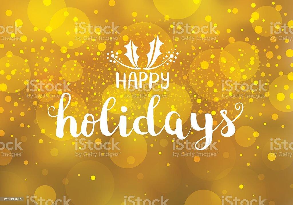 Happy holidays golden lights vector art illustration