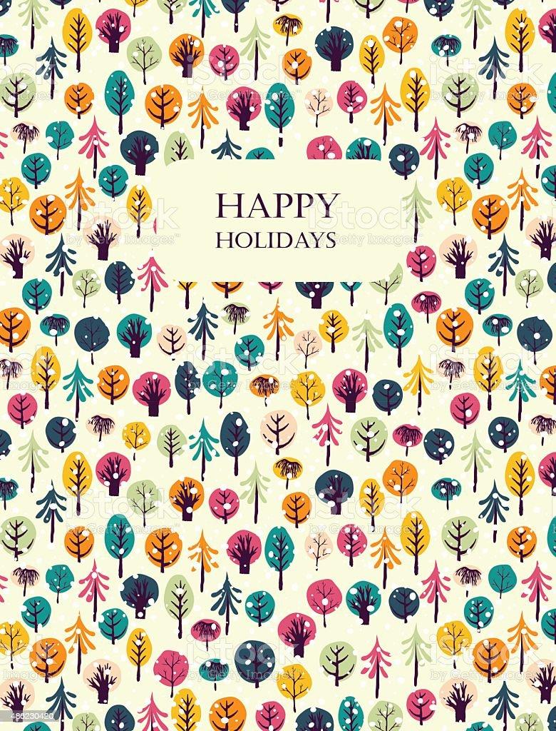 Happy holidays greeting card. vector art illustration