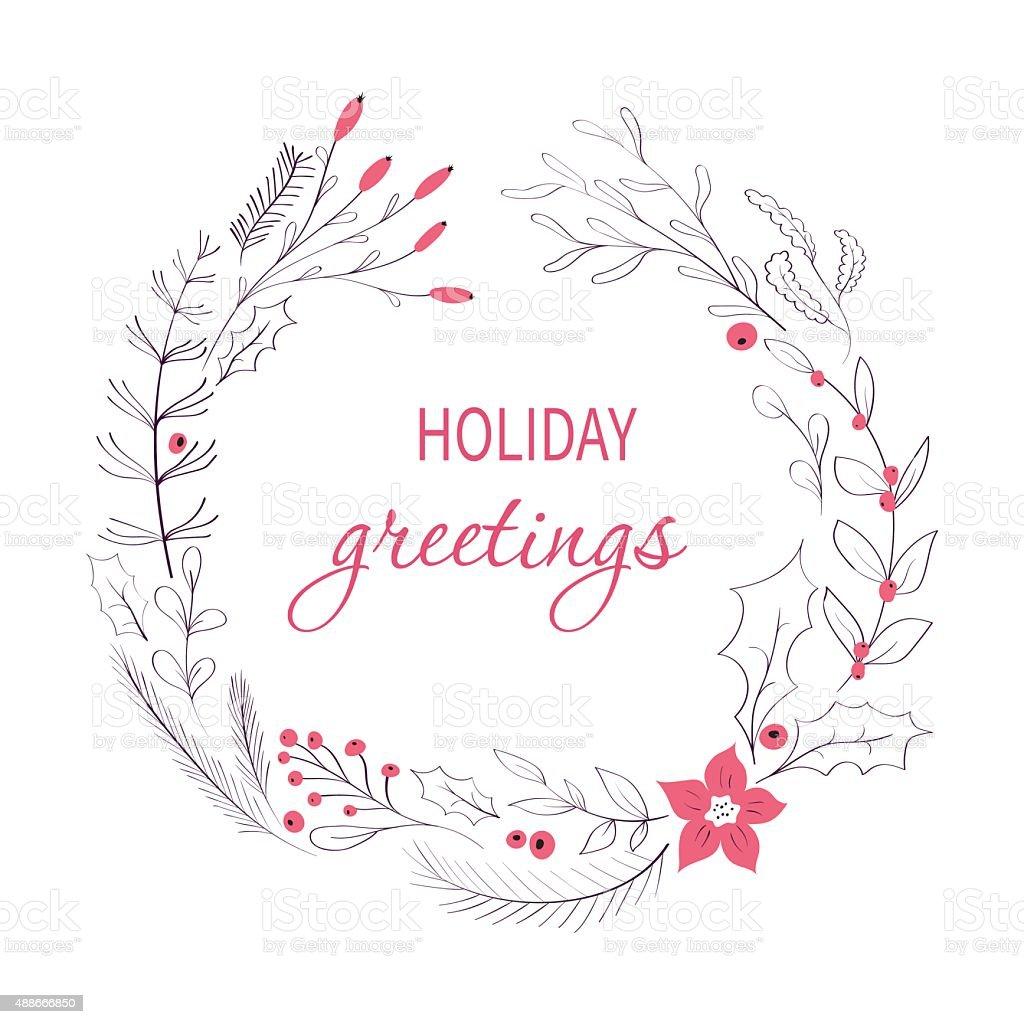 Happy holidays greeting card vector art illustration
