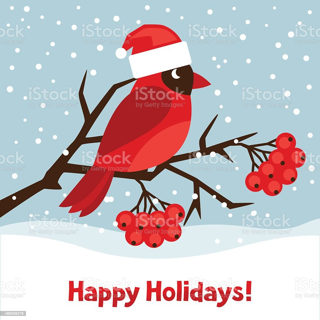 Happy holidays greeting card with bird red cardinal vector art illustration