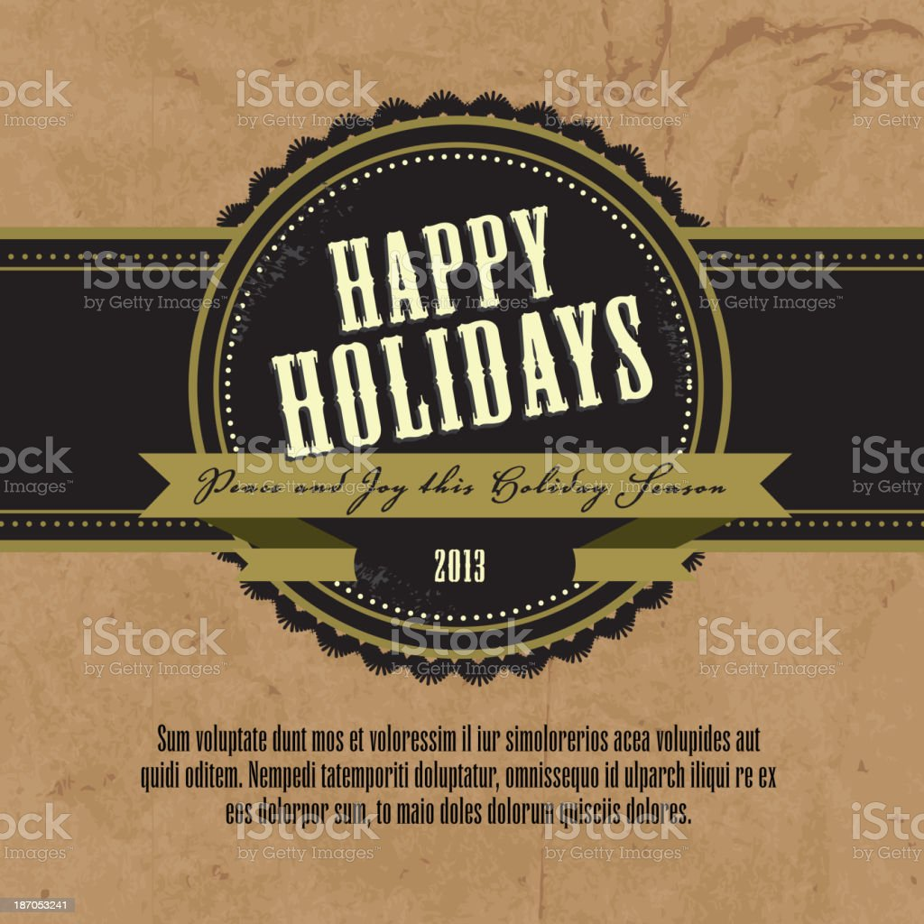Happy Holidays greeting square on a paper bag design template royalty-free stock vector art