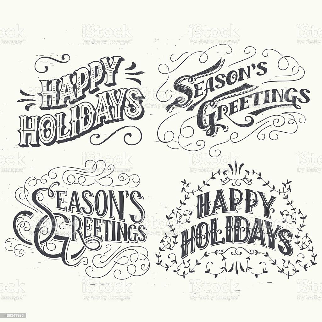 Happy Holidays hand drawn typographic headlines vector art illustration