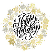 Happy Holidays lettering, gold greeting card