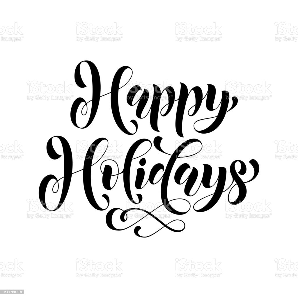 Happy Holidays lettering greeting card vector art illustration