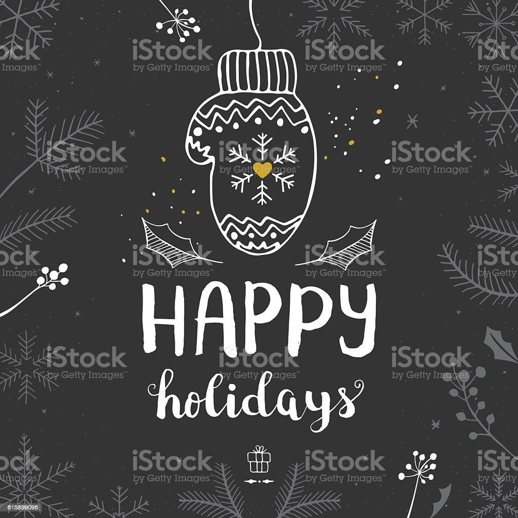 Happy holidays mitten vector art illustration
