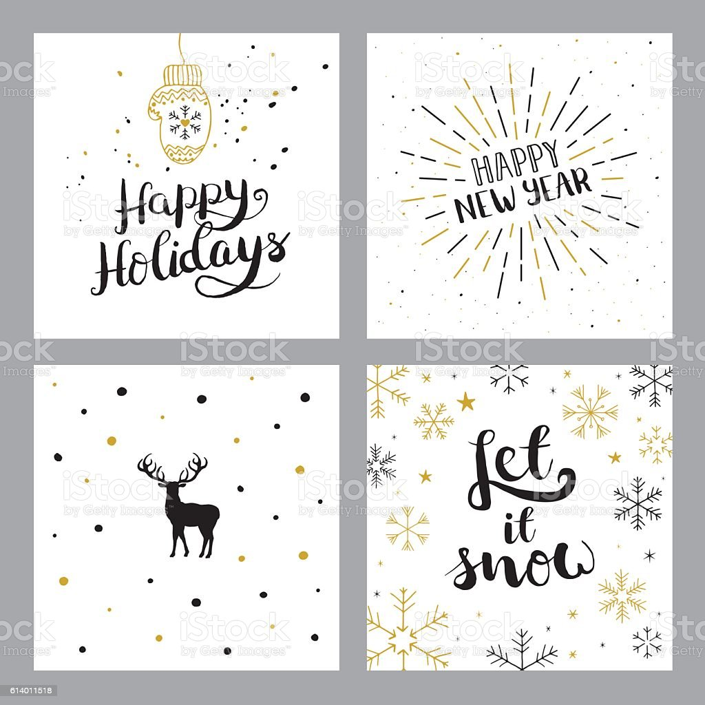Happy holidays set vector art illustration