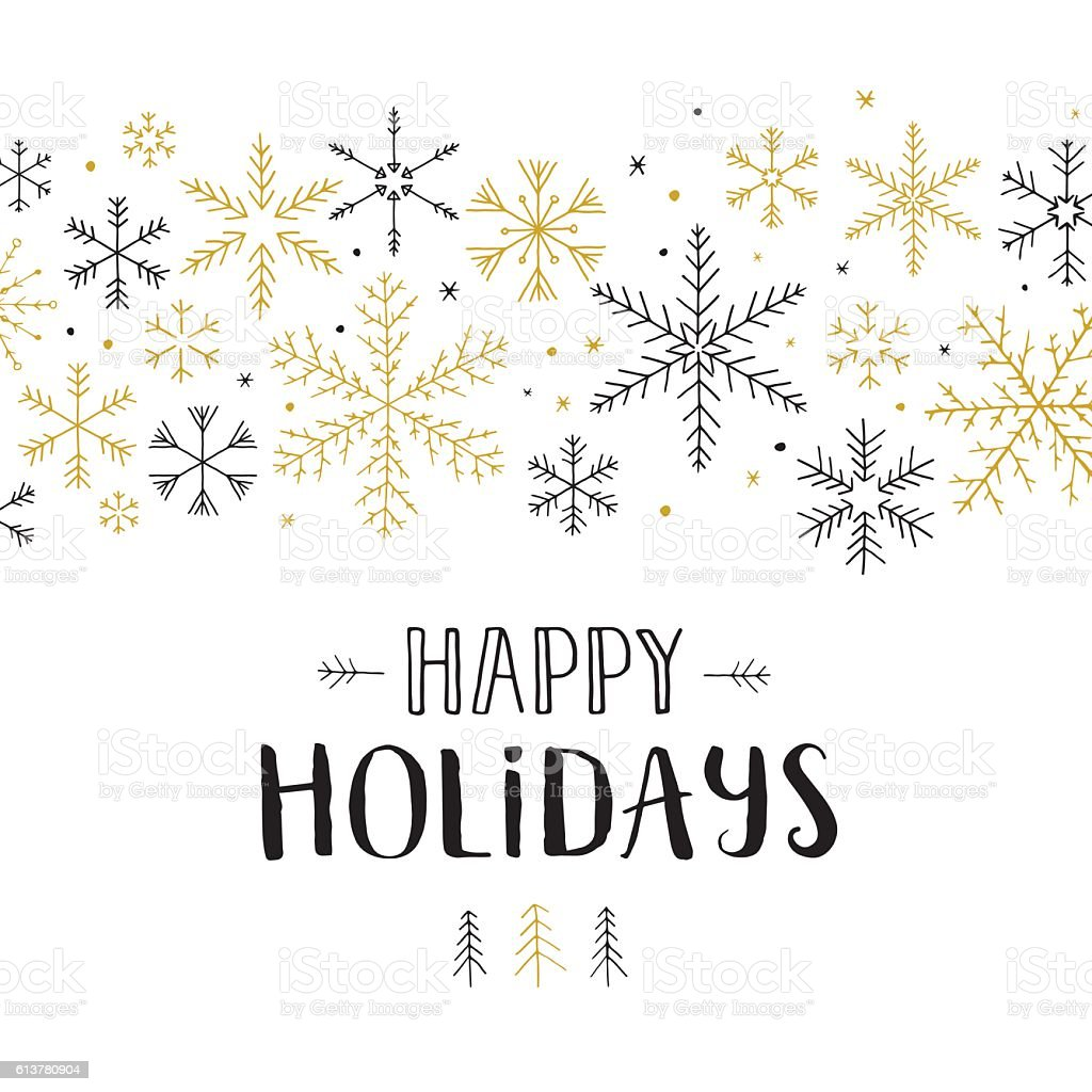 Happy holidays snowflakes vector art illustration