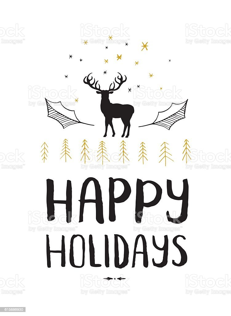 Happy holidays stag vector art illustration