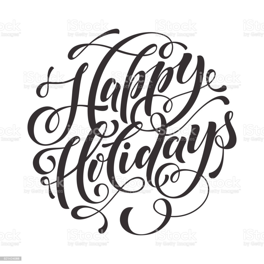 Happy Holidays Text  for greeting card, invitation vector art illustration