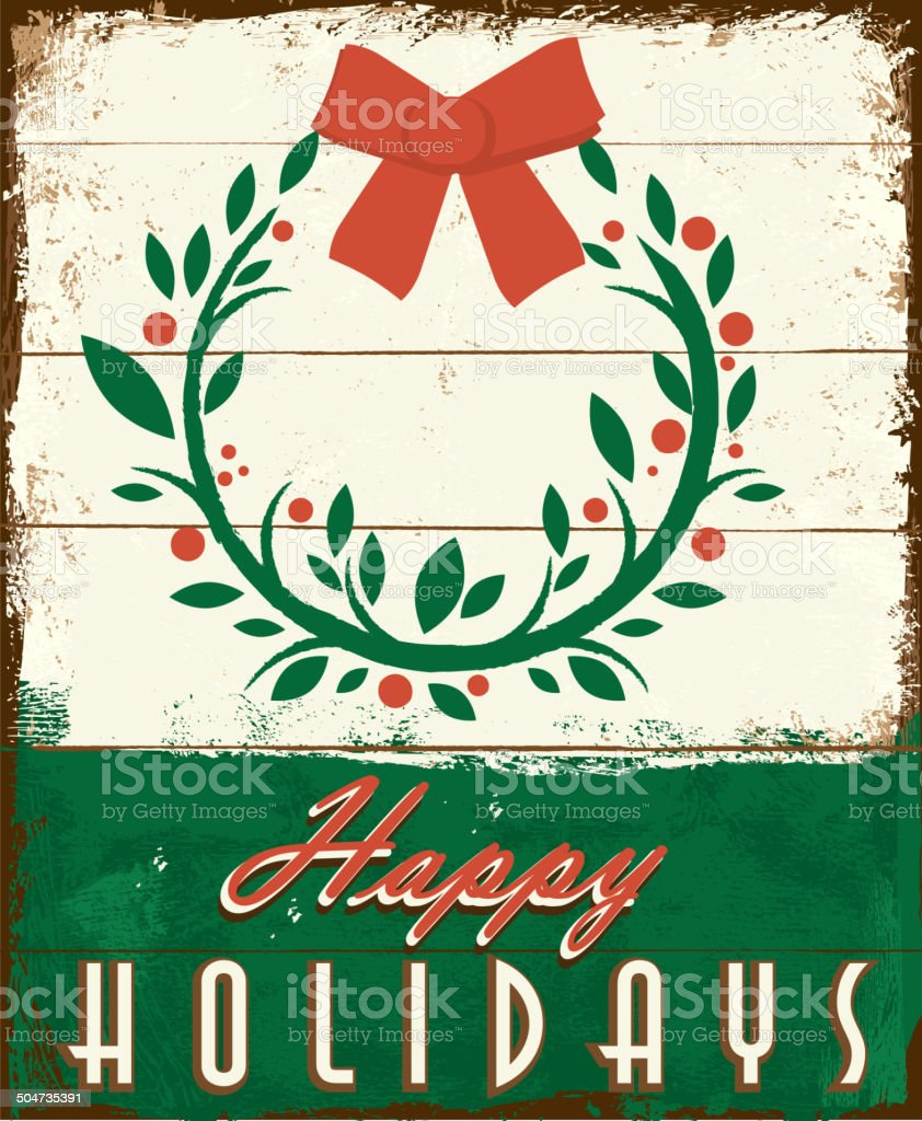Happy holidays vintage wooden painted sign design with floral wreath vector art illustration