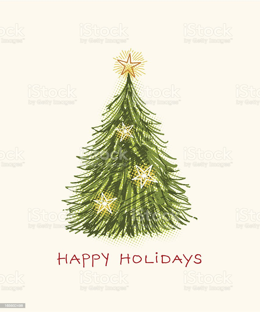 Happy holidays with Christmas tree on beige background royalty-free stock vector art