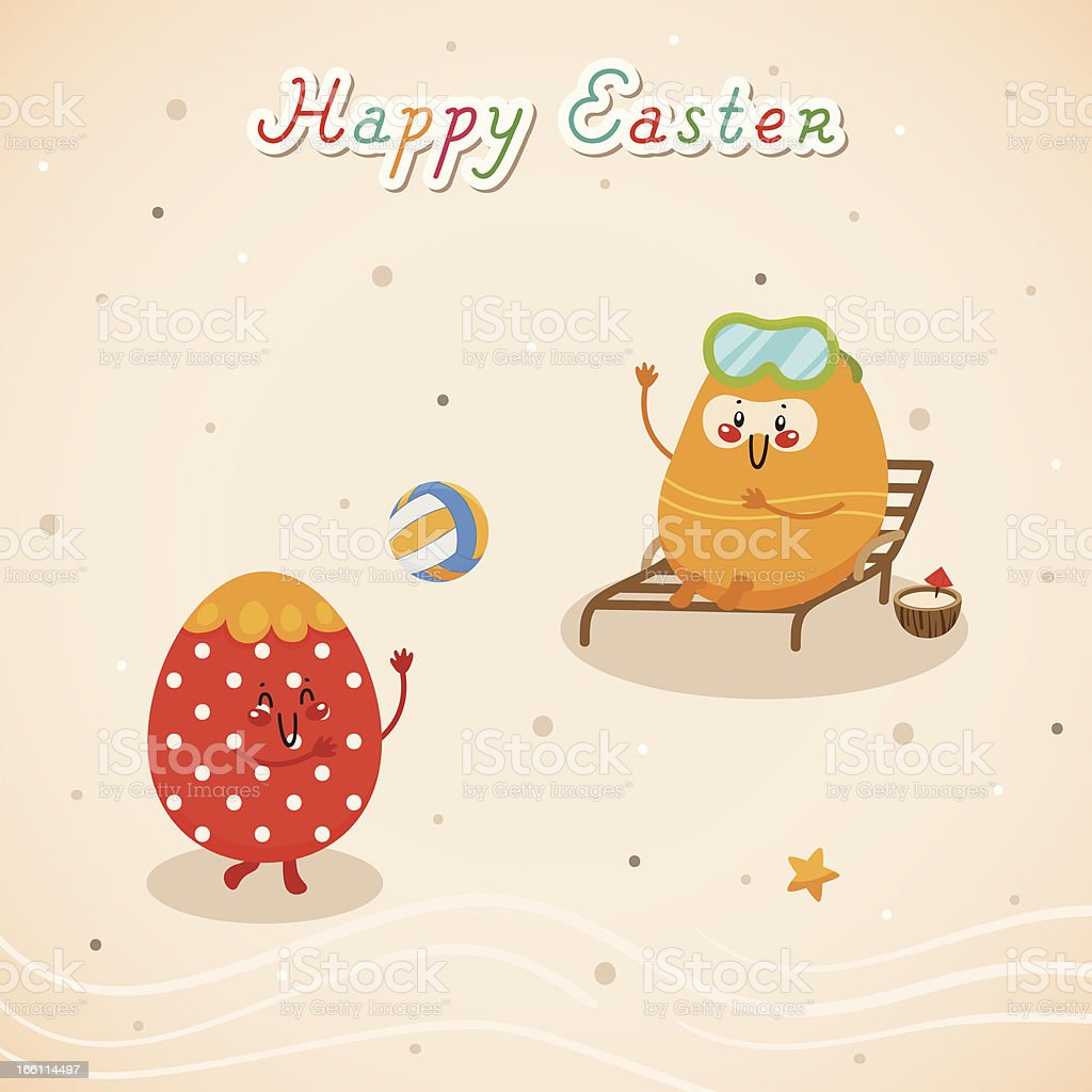 Happy holidays with Easter eggs royalty-free stock vector art