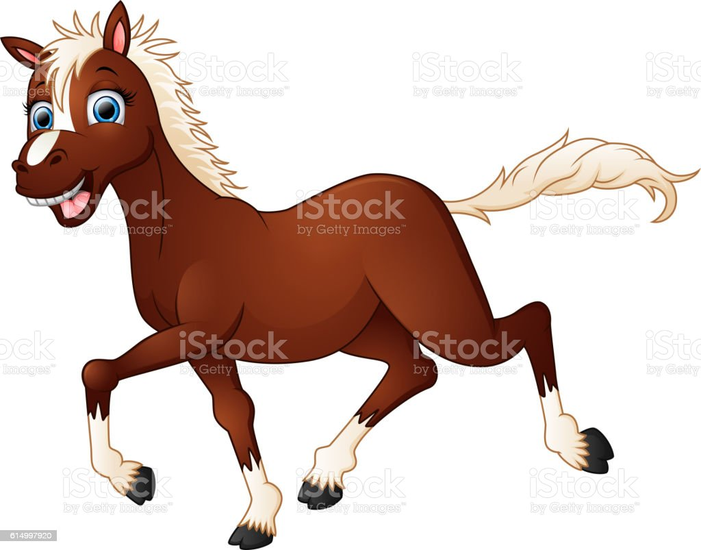 Happy horse cartoon vector art illustration