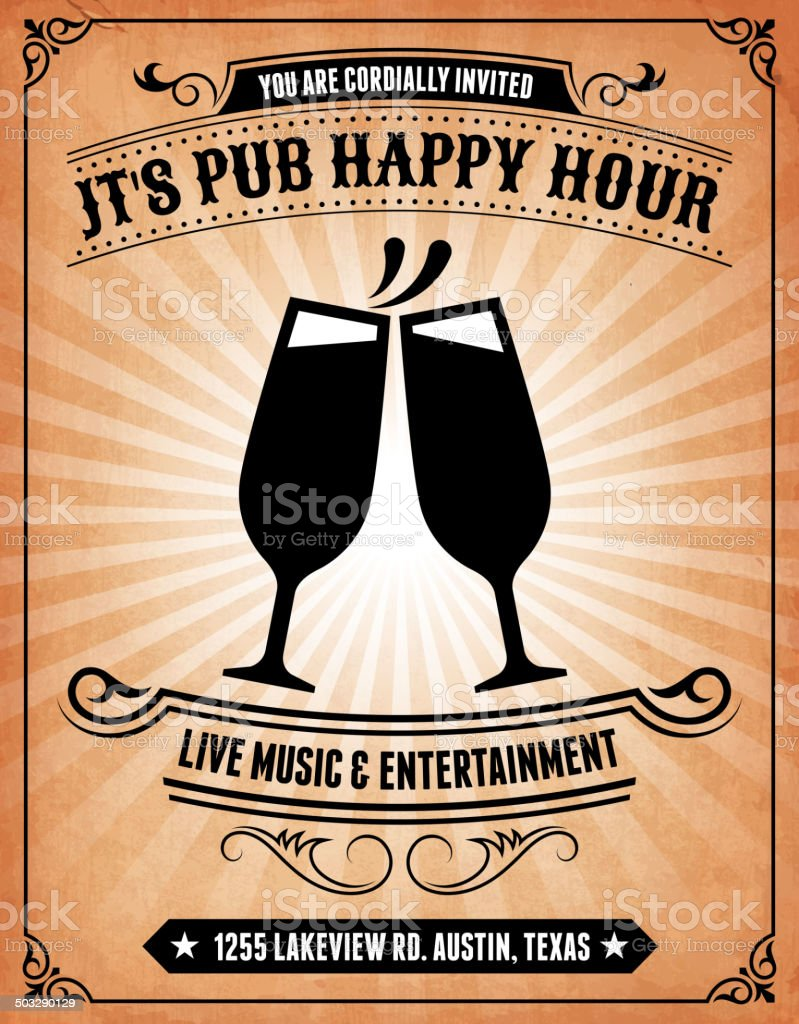Happy Hour Bar Invitation on royalty free vector Background Poster vector art illustration