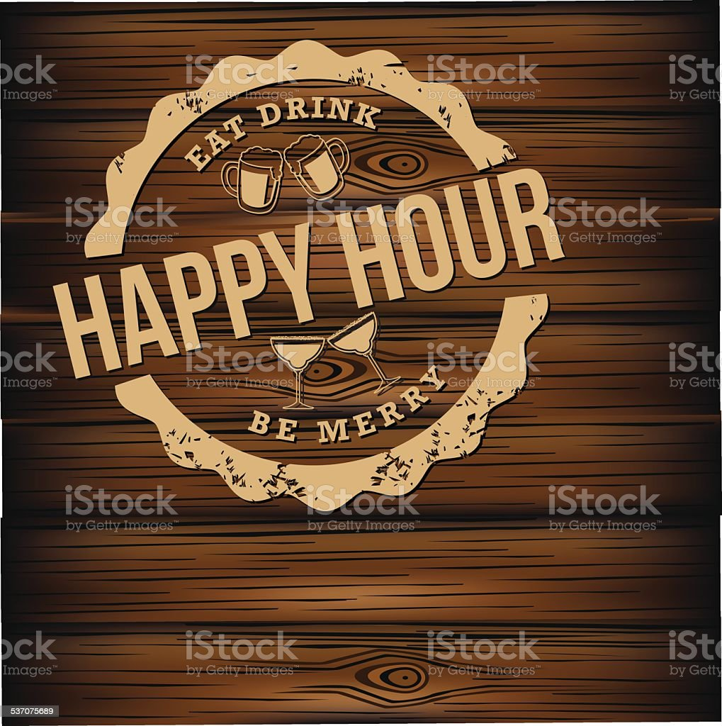 Happy hour carved wood background vector art illustration