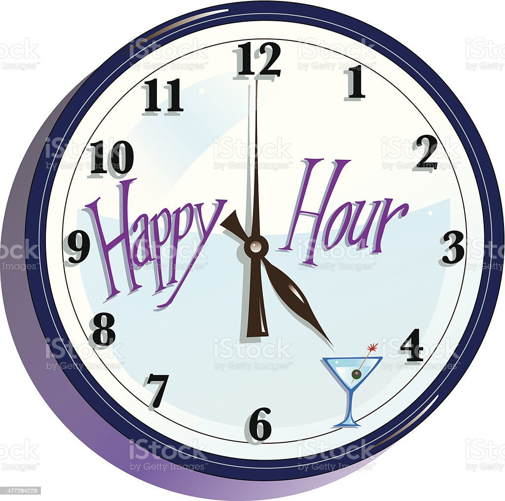 Happy Hour Clock C vector art illustration