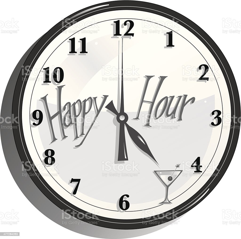 Happy Hour Clock vector art illustration