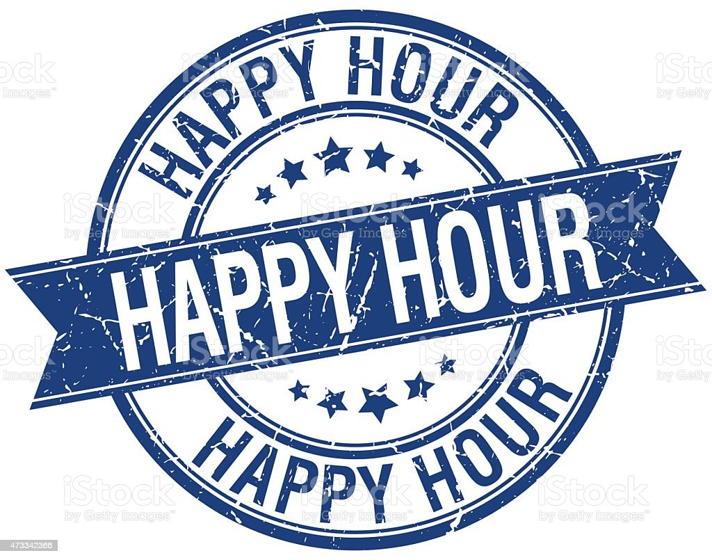 happy hour grunge retro blue isolated ribbon stamp vector art illustration