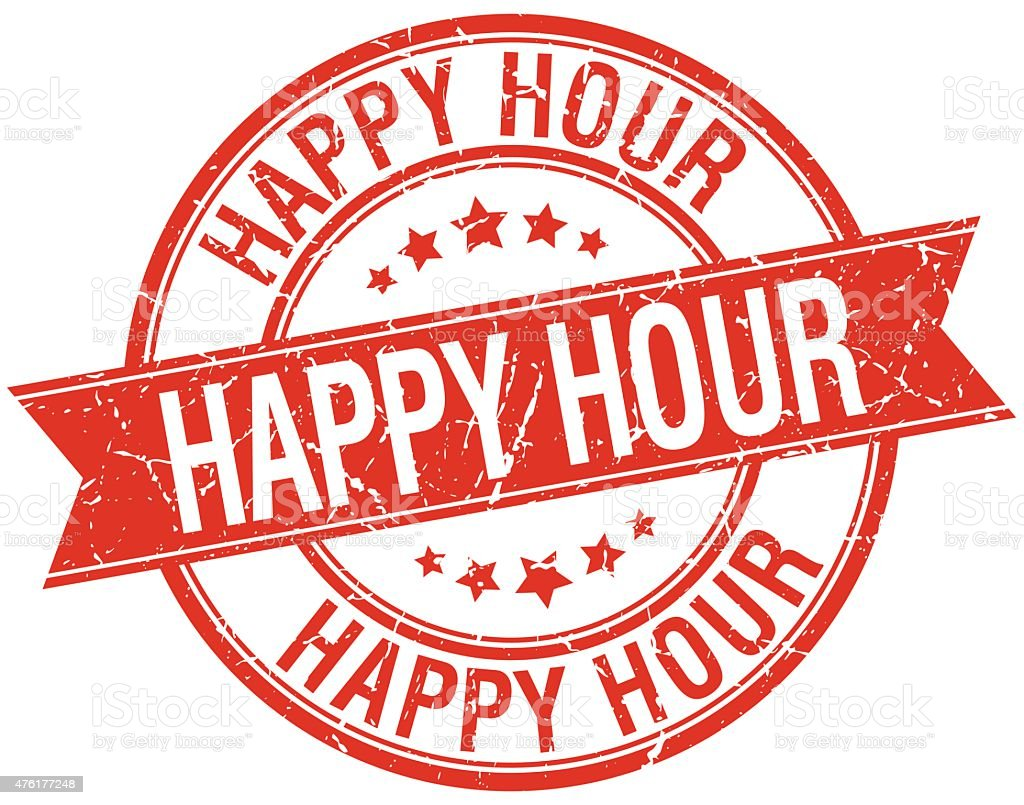 happy hour grunge retro red isolated ribbon stamp vector art illustration