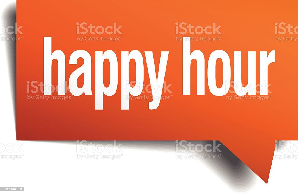 happy hour orange speech bubble isolated on white vector art illustration