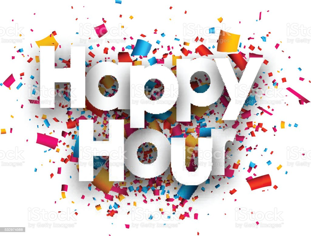 Happy hour paper background. vector art illustration