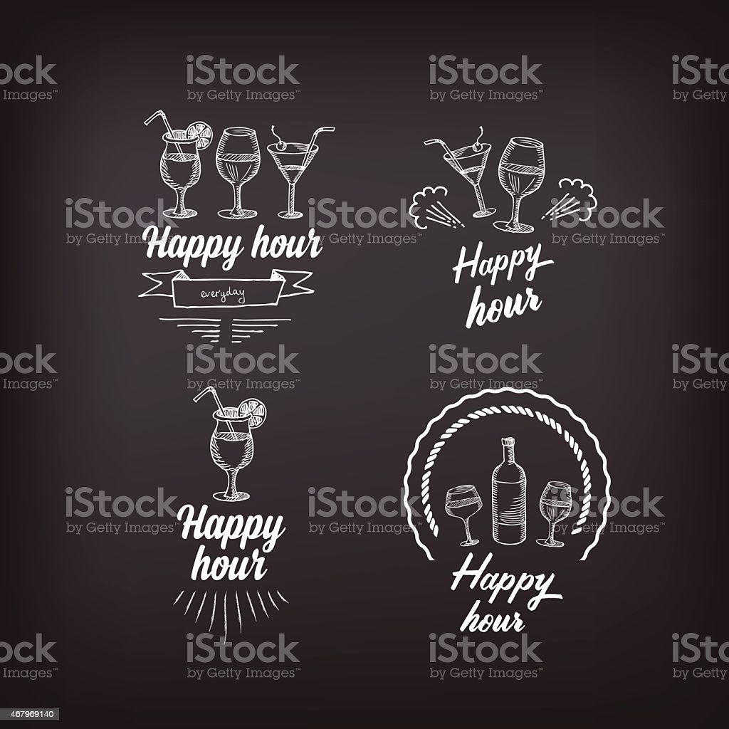 Happy hour party invitation. Cocktail chalkboard banner. vector art illustration