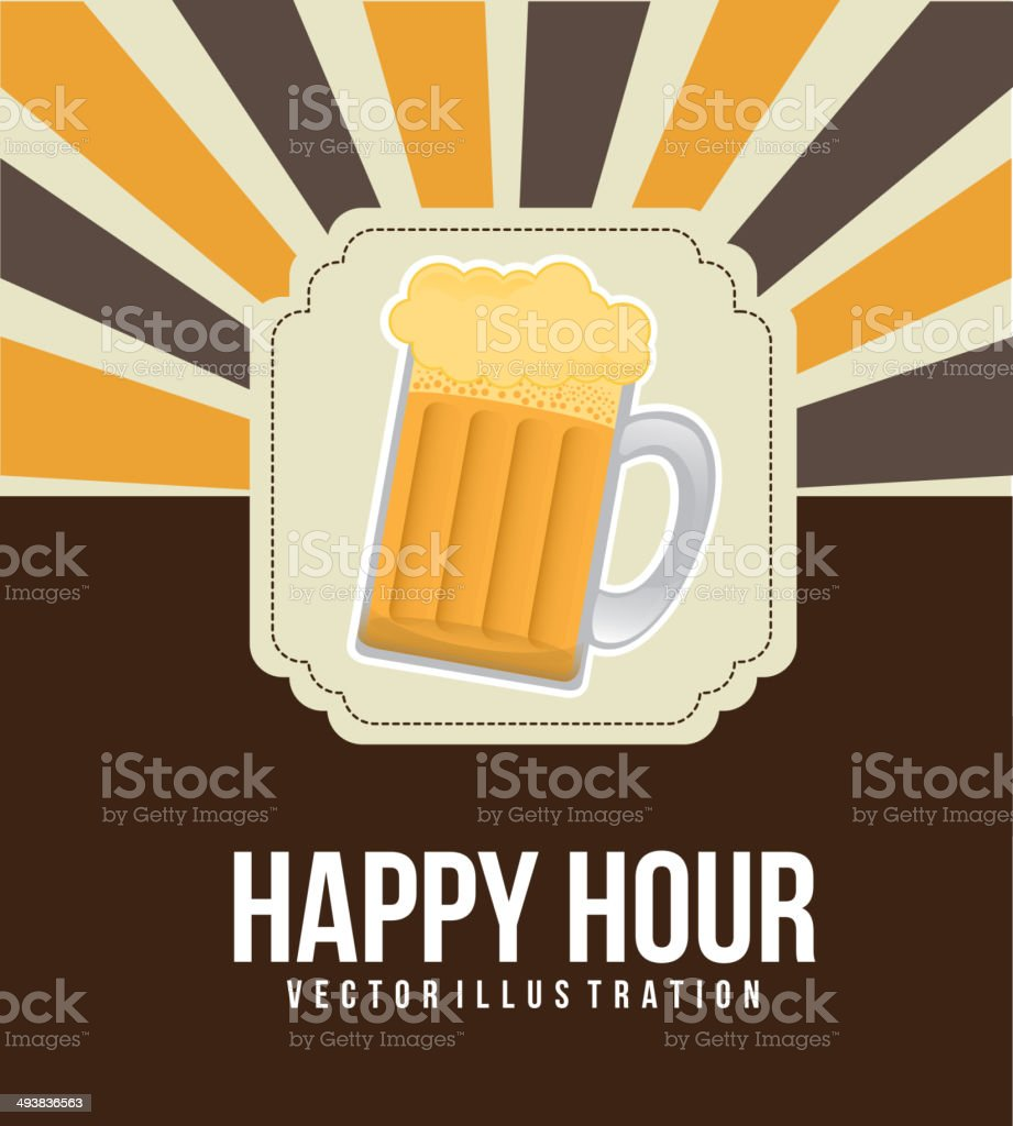 happy hour vector art illustration
