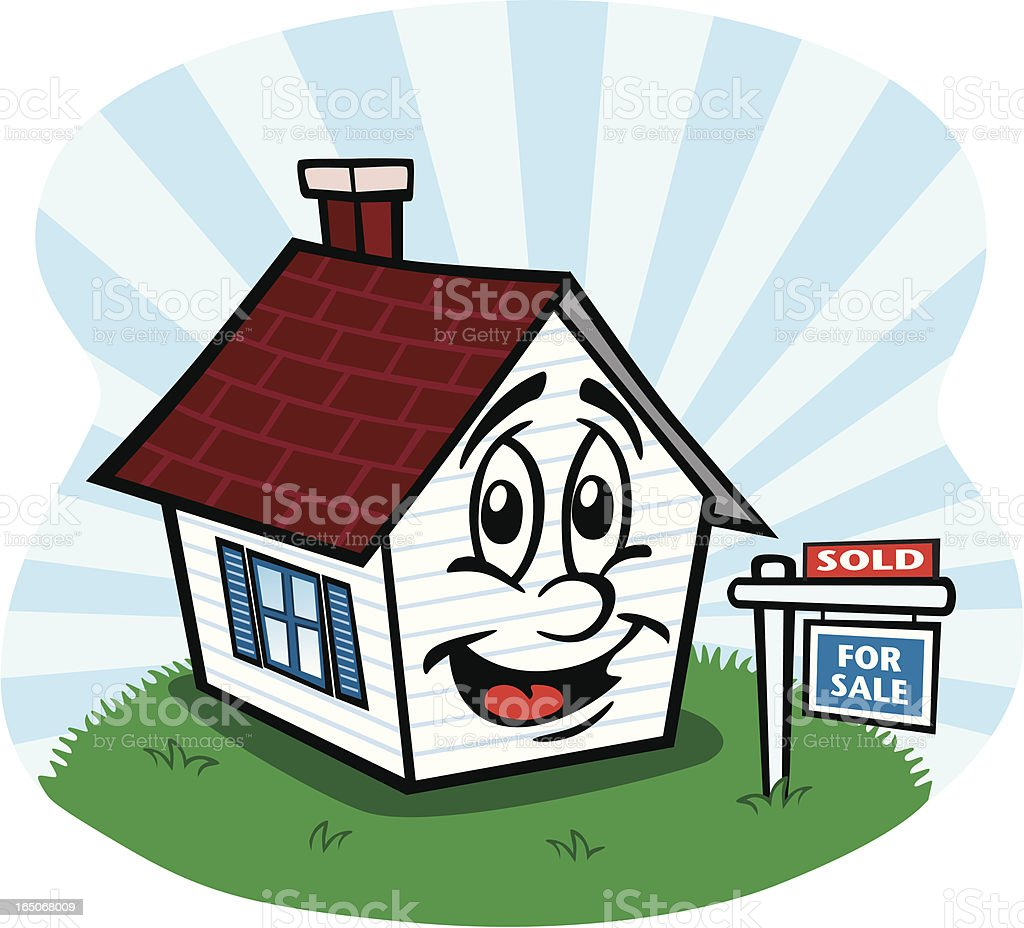 Happy House Sold vector art illustration